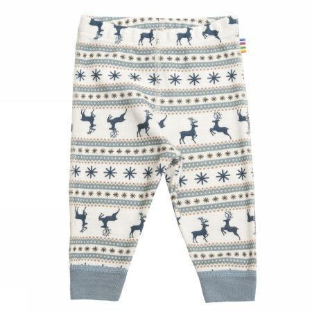 Leggings i lyseblå / sand ull - Jumping deer
